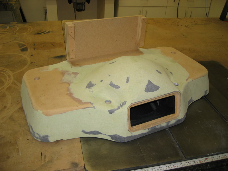 Mercedes S55 Sub Enclosure after fiberglass and bondo