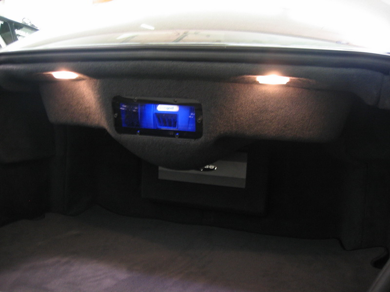 Trunk of Mercedes S55 with sub box and amp rack